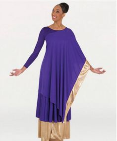 Convertible asymmetrical caftan pullover has one side with gold trim and the other with a side slit for a variety of wearing options.Made of Matte Polyester. Couture Sewing Techniques, Dance Tops, Color Guard, African Fashion Dresses, Dance Outfits, Dance Wear, Flags, Worship, Convertible