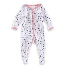 Sterling Baby Nautical Print Footie in Pink/Navy - buybuyBaby.com