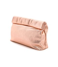 Marie Turnor Accessories - The Pebbled Lunch Clutch in rose gold