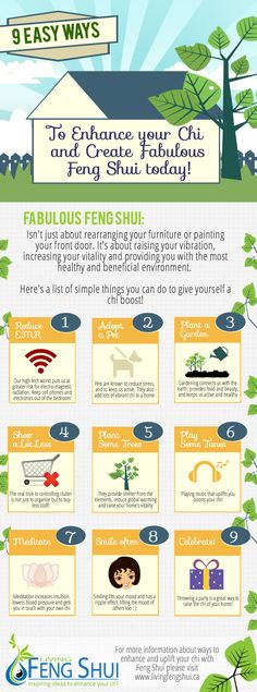9 Easy Ways to create fabulous Feng Shui - infographic