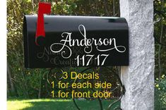 Set of 3 Custom Vinyl Mailbox Decals, 2 decals with Last Name and Address and 1 number decal for the front door of mailbox Mailbox Numbers, House Numbers, Custom Decals, Vinyl Decals, Personalized Mailbox, Personalized Items, Mailbox Makeover, Custom Mailboxes, Mailbox Decals
