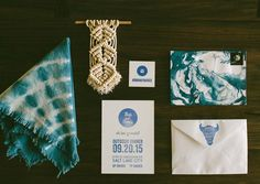 Prettiest marble tie dyed indigo party invitations and napkins for a boho chic dinner party