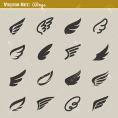 Vector Wings Set Of Design Elements Vector Illustration Royalty Free Cliparts, Vectors, And Stock Illustration. Image Set Of Design Elements Vector Illustration Royalty Free Cliparts, Vectors, And Stock Illustration. Gfx Design, Design Vector, Vector Art, Design Art, Graphic Design, Logo Wings, Logo Inspiration, Tatoo Naruto, Logo Luxury