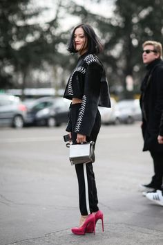 84 Outfit Ideas For Style Extroverts #refinery29  http://www.refinery29.com/2015/03/83675/paris-fashion-week-2015-street-style#slide-41  Miss your platforms? Bring 'em back, like Tiffany Hsu did.