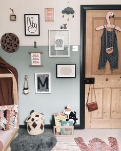"""Sally & Jay KONOC on Instagram: """"Kids space ✌🏽 . I thought I'd better post this photo of Maddis room before it changes again! I love hanging a little outfit up on the back…"""" Boy Room, Kids Room, Half Painted Walls, Woodland Nursery Decor, Art Wall Kids, Kid Spaces, Kids Decor, Decoration, Girls Bedroom"""