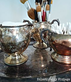 Cream, Sugar, or Me? Creative Bathroom Storage repurposed silver tea set for storage Walker Greer Vintage