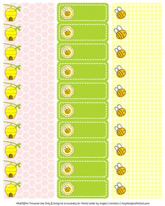 Baby Shower Labels in a Bumble Bee Girls Theme          This really cute printable Bumble Bee baby shower set designed by Angela of