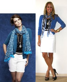 This would be nice for you to incorporate a little bit of bright blue..and you could go with white pants instead.