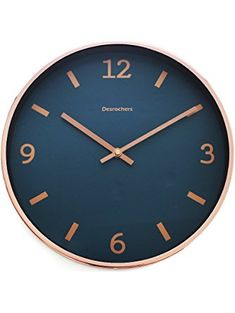 "Luxury Modern 12"" Silent Non-Ticking Wall Clock with Rose Gold Frame (Blue Shore) ❤ Arospa"