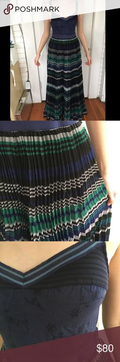 Free People Navy Combo Striped Maxi Dress Navy Free People maxi dress with pleats in pristine condition. It fit me, a size 2. Originally $248 at Anthropologie. Free People Dresses Maxi