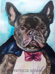 ACUARELAS Y RETRATOS DE GALGOS Y ALGO MÁS  Mi mundo ,mis aficiones  ,sobre un bloc de acuarela .: TOSH ,Bulldog francés, el más elegante