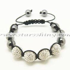 Clay Shamballa Bracelet, 14mm round clear clay rhinestone & 12mm hematite beads