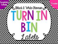 Use a Turn In Bin to help keep student work organized.--Turn in Bin labels--Freebie
