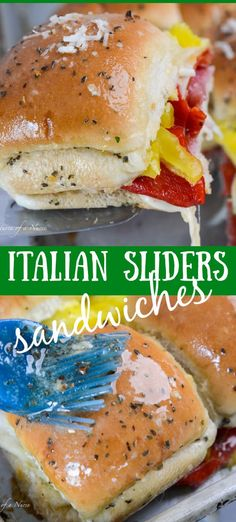 This Italian Sliders recipe from Adventures of a Nurse is the perfect way to enjoy a hot Italian sub! This easy recipe combines ham, salami, pepperoni, peppers, provolone cheese, and roasted peppers into delicious sandwiches on Hawaiian rolls to serve for dinner, appetizers, or for the big game. This quick and easy recipe is sure to be a crowd-pleaser! Slider Sandwiches, Hawaiian Roll Sandwiches, Hawaiian Roll Sliders, Rolled Sandwiches, Party Sandwiches, Hot Sandwich Recipes, Delicious Sandwiches, Delicious Recipes, Delicious Dishes