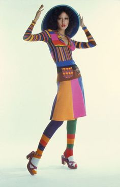 Pat Cleveland wearing Stephen Burrows, 1970s.