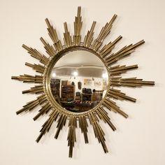 1920 French vintage Art deco brass sun mirror