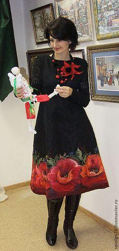 """сарафан """"МакТюрн""""-) - ярко-красный,маки,красный и черный,авторское платье"""