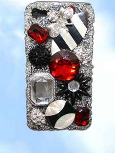 iphone4 case.  Inlaid Mother of Pearl shell in black and white with red jewel pieces.  One-of-a-kind handcrafted.  www.wowever.com.