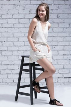 Zivame Boho Belle Embroidered Playsuit- Parchment Tan    #Romper   #White    #solid #DeepVNeck     #SleeveLess