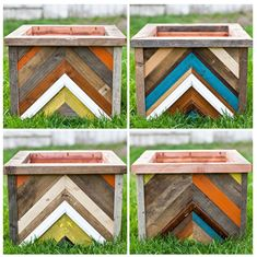 Recycled Wood Chevron Planter