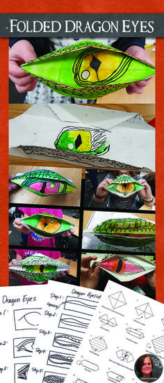 Dragon Eyes Art Lesson - Dragon Origami Art Lesson - Dragon Eyes Kids love to be able to open and close these origami dragon eyes!Kids love to be able to open and close these origami dragon eyes! Dragon Origami, Origami Art, Origami Boxes, Origami Bookmark, Origami Flowers, School Art Projects, Projects For Kids, Diy Projects, Middle School Art