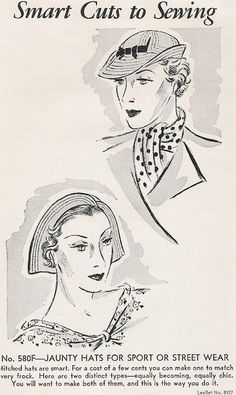 Sewing Vintage: Jaunty Hats From 1935 (free pattern+instruction)