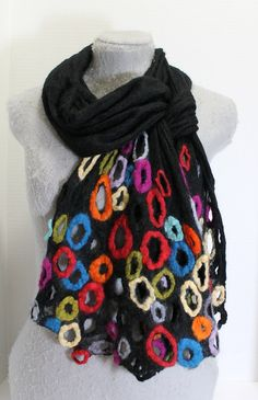 Multicolor Felted Scarf OOAK GREAT GIFT von mgotovac auf Etsy