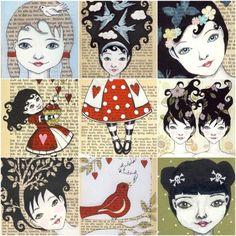 Mixed media art illustrations of girls with interesting hair. http://www.etsy.com/shop/carambatack