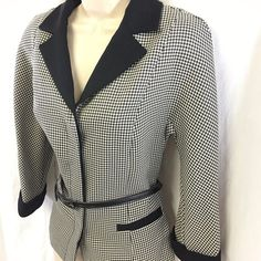 K Petite Collection Ladies 10P Black White Houndstooth Belted Suit Jacket Blazer #KPetite #Blazer