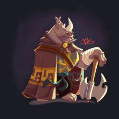 Warrior Rhino character design, Gus Batts on ArtStation at https://www.artstation.com/artwork/rXwr2
