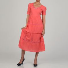 La Cera Women's Coral Cotton Short Sleeve Embroidered Tier Dress | Overstock.com Shopping - Top Rated Casual Dresses