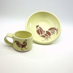 Kid dish set - kid cup and bowl - creamy yellow glaze -rooster! by Emily Murphy Pottery  on Etsy