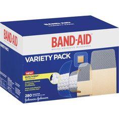 "$12.00 Band-Aid Variety Pack Bandages, 280 count. 8 Band-Aid brand sheer extra large adhesive bandages, 1-3/4"" x 4"", 120 Band-Aid brand flexible fabric adhesive bandages, 1"" x 3"", 82 Band-Aid brand sheer extra large adhesive bandages, 5/8"" x 2 1/4"", 40 Band-Aid flexible fabric adhesive bandages, 3/4"" x 3"", 30 Band-Aid brand sheer extra large adhesive bandages, 7/8"" x 7/8"""