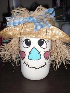 scarecrow jar by kara Mason Jar Art, Mason Jar Gifts, Scarecrow Crafts, Halloween Crafts, Scarecrows, Clay Pot Crafts, Jar Crafts, Thanksgiving Crafts, Holiday Crafts