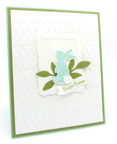 A Easter Card using Stampin' Up!'s Single stamp Ears for You along with some embossing folders and Teeny Bitty Wishes Stamp Set.