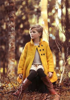 Handknitted girls coat by Poney for fall 2013...love the pop of color mixed with the earth tones, #ColorfulFall