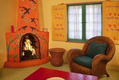 Kiva fireplace painted by Taos, NM artist Jim Wagner
