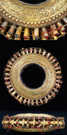 """Indonesia ~ Sulawesi   A """"Lola-Lola"""" bracelet from the Toraja people   Worn only by high ranking woman at ritual ceremonies or at funerals   Wood or wax center that is coated in silver and gold. At the tips of each 'spike' are semi precious stones and glass decorations   ca. 19th century to early 20th century   Est. 5,000 - 6,000€ High Jewelry, Ethnic Jewelry, Beaded Jewelry, Klimt, Antique Jewellery, Vintage Jewelry, Wax Center, East Asian Countries, Mourning Dress"""