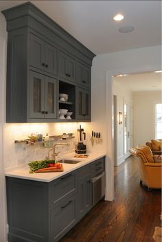 Kitchen Cabinet Ideas. Side kitchen cabinet. This space is perfect for a coffee station or separate workarea. #KitchenCabinet #CoffeeStation #CabinetIdeas Allard Ward Architects.