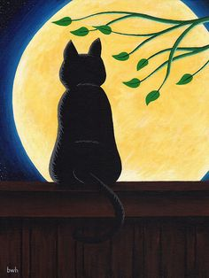 Basking in the Moon 12x16 Original Acrylic Painting by bwhartwork