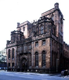 Manchester, John Rylands Library, Exterior Victorian Gothic style.