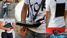Across the hands-free iPad case in action: as a cross-body bag, portfolio,mobile desk, backpack