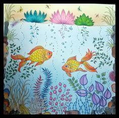 Secret garden with Crayola pencils but added soft pastel background