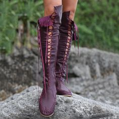 Gypsy Lace-Up Knee High Flat  Boots - http://elegantshoegirl.com/product/gypsy-lace-up-knee-high-flat-boots/