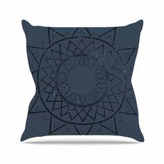 KESS InHouse ME1030AOP03 18 x 18-Inch 'Matt Eklund Lunar Sundial Blue Geometric' Outdoor Throw Cushion - Multi-Colour