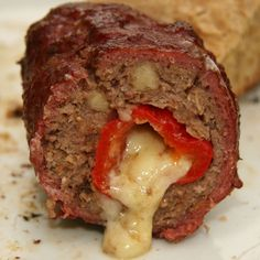 This looks like food my husband likes: Armadillo Eggs - stuff chilis/jalapenos with cheddar cheese, wrap in spiced ground beef mix, brush with BBQ sauce, & grill; could also wrap with bacon Keto Burger, Burger Recipes, Egg Recipes, Kitchen Recipes, Pork Recipes, Bacon Appetizers, Holiday Appetizers, Armadillo Eggs, Parchment Paper Baking