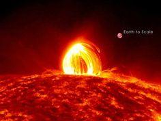 Erupção de plasma no Sol em foto capturada pela Nasa