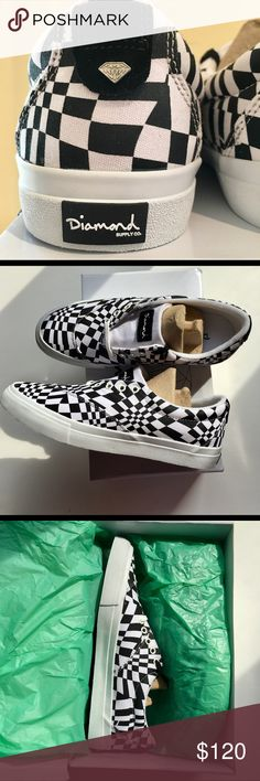 Diamond Supply Co. Avenue Checkered Black/White Limited to an edition of 300 pairs.  Upper pairs a 10 oz. canvas with white stitching, with asymmetrical black and white design.  Rubber outsole.  Men's size 8 NEW IN BOX Diamond Supply Co. Shoes Sneakers