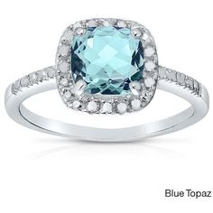 Dolce Giavonna Silverplated Cushion-cut Gemstone Cocktail Ring (58.590 COP) ❤ liked on Polyvore featuring jewelry, rings, blue, blue gemstone rings, blue ring, gem rings, wide rings and blue band ring