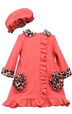 Bonnie Baby Little Girls Leopard Print Fleece Ruffle Front Coat, Coral, 5